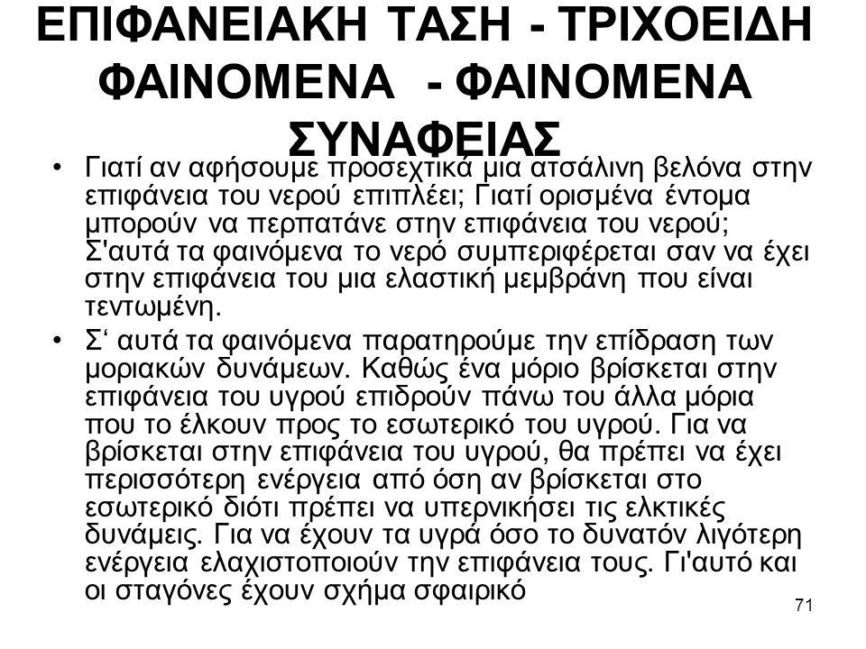 ΕΠIΦΑΝΕIΑΚΗ ΤΑΣΗ - ΤΡIΧΟΕIΔΗ ΦΑIΝΟΜΕΝΑ - ΦΑIΝΟΜΕΝΑ ΣΥΝΑΦΕIΑΣ
