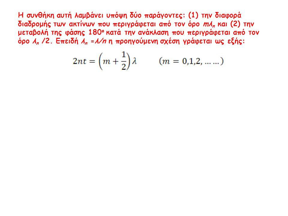 Η συνθήκη αυτή λαμβάνει υπόψη δύο παράγοντες: (1) την διαφορά διαδρομής των ακτίνων που περιγράφεται από τον όρο mλn και (2) την μεταβολή της φάσης 180ο κατά την ανάκλαση που περιγράφεται από τον όρο λn /2.