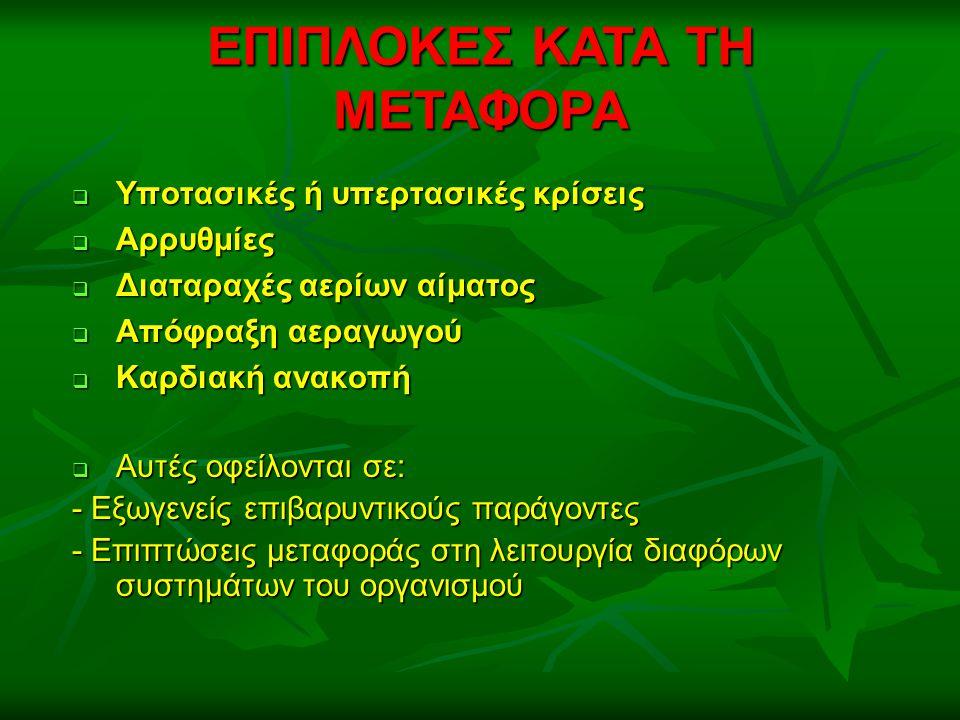 ΕΠΙΠΛΟΚΕΣ ΚΑΤΑ ΤΗ ΜΕΤΑΦΟΡΑ