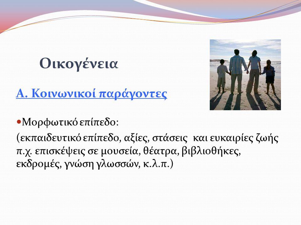 Οικογένεια Α. Κοινωνικοί παράγοντες Μορφωτικό επίπεδο: