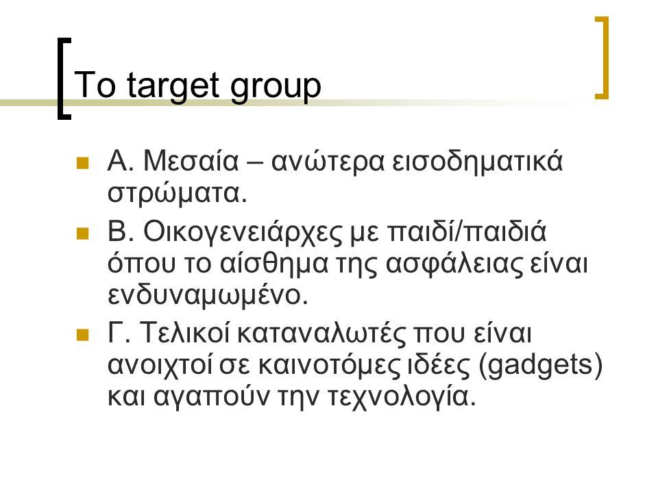 Το target group Α. Μεσαία – ανώτερα εισοδηματικά στρώματα.