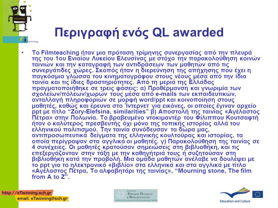 Περιγραφή ενός QL awarded