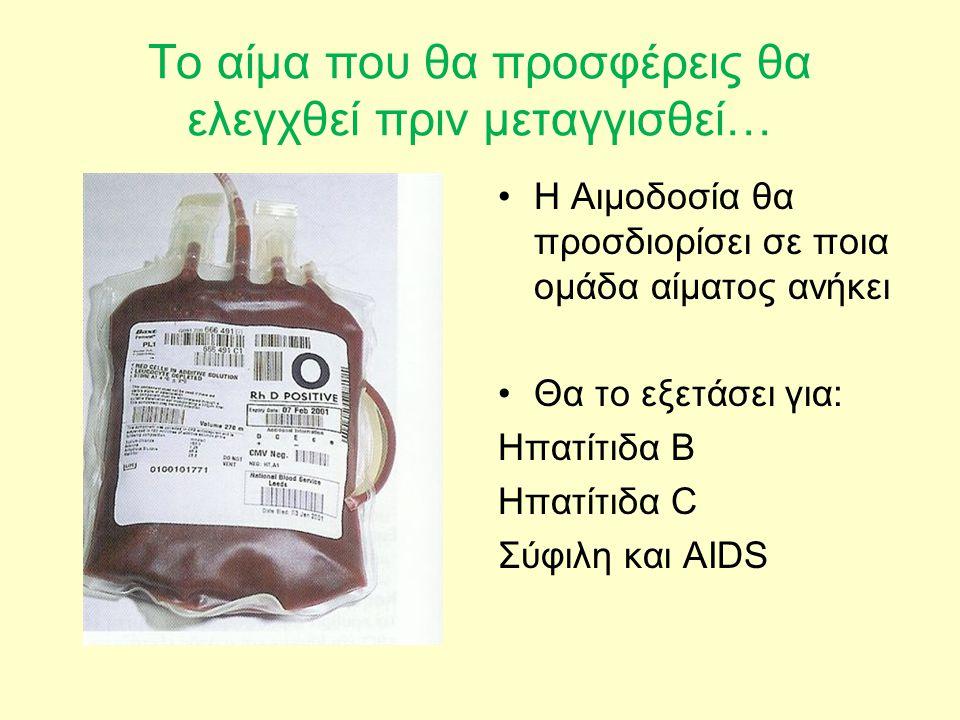 Το αίμα που θα προσφέρεις θα ελεγχθεί πριν μεταγγισθεί…