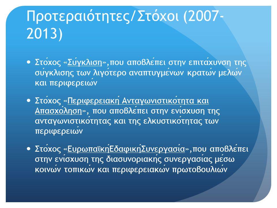 Προτεραιότητες/Στόχοι (2007-2013)