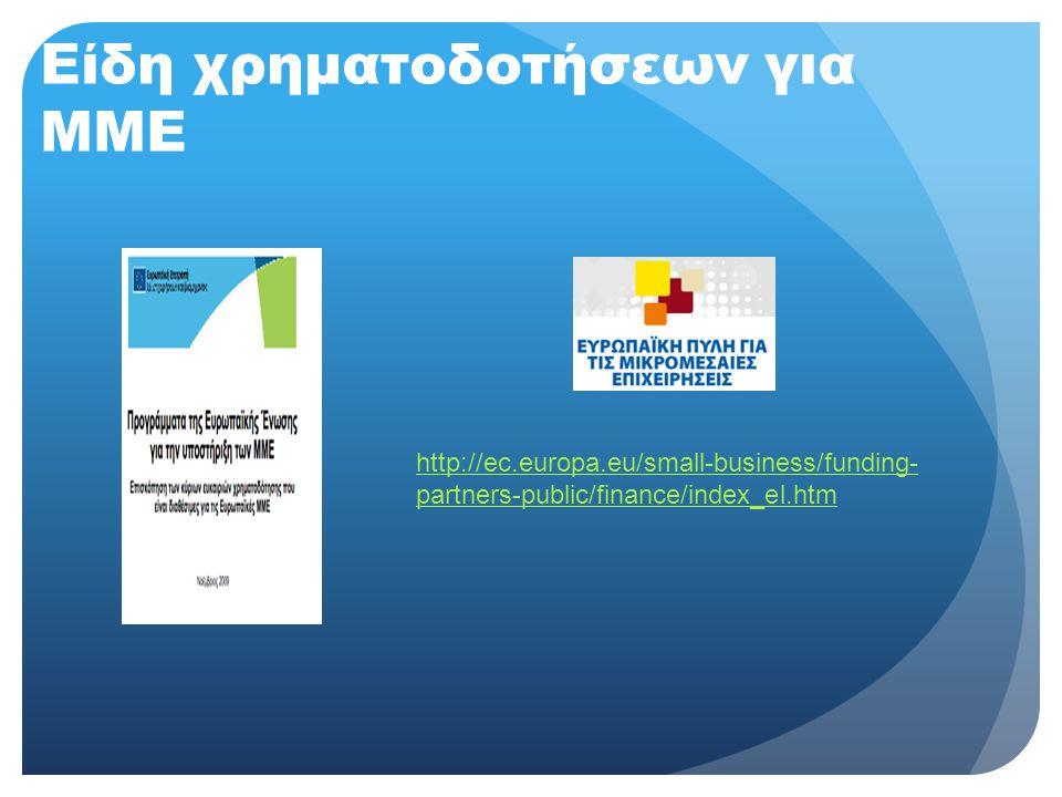 Είδη χρηματοδοτήσεων για ΜΜΕ