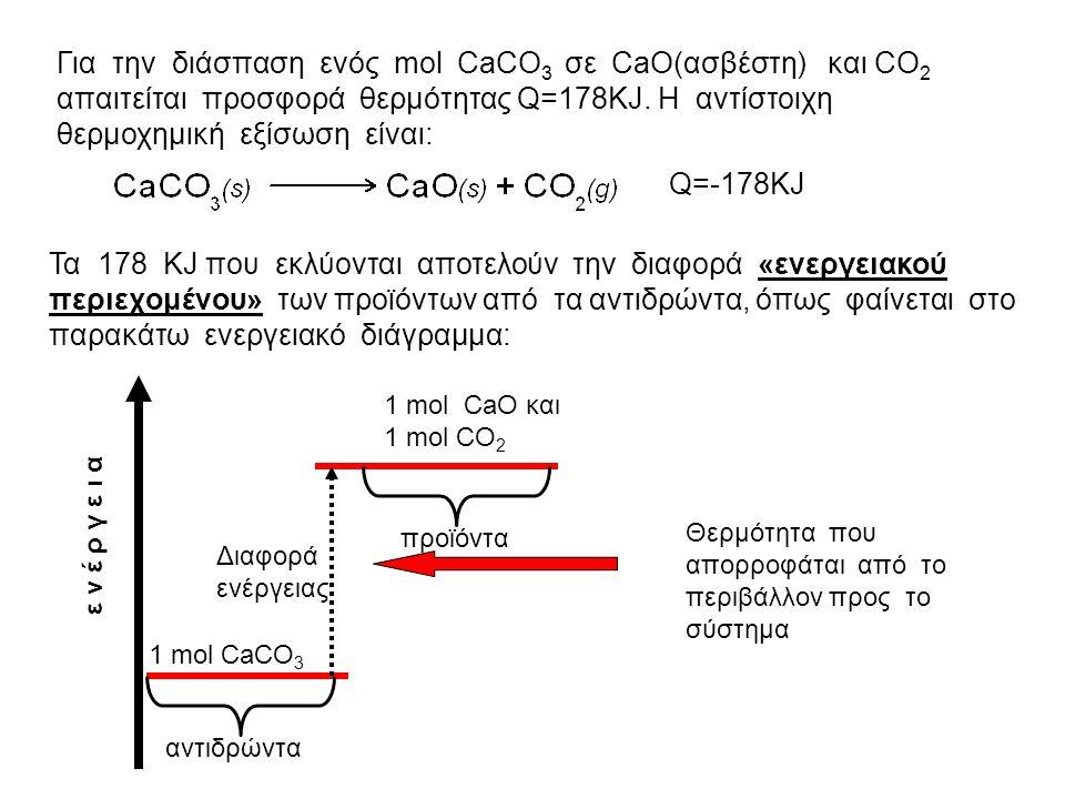 Για την διάσπαση ενός mol CaCO3 σε CaO(ασβέστη) και CO2 απαιτείται προσφορά θερμότητας Q=178KJ. Η αντίστοιχη θερμοχημική εξίσωση είναι:
