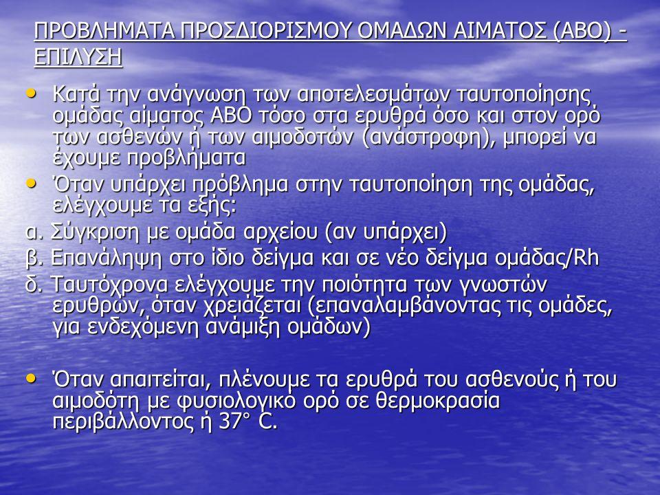 ΠΡΟΒΛΗΜΑΤΑ ΠΡΟΣΔΙΟΡΙΣΜΟΥ ΟΜΑΔΩΝ ΑΙΜΑΤΟΣ (ΑΒΟ) - ΕΠΙΛΥΣΗ