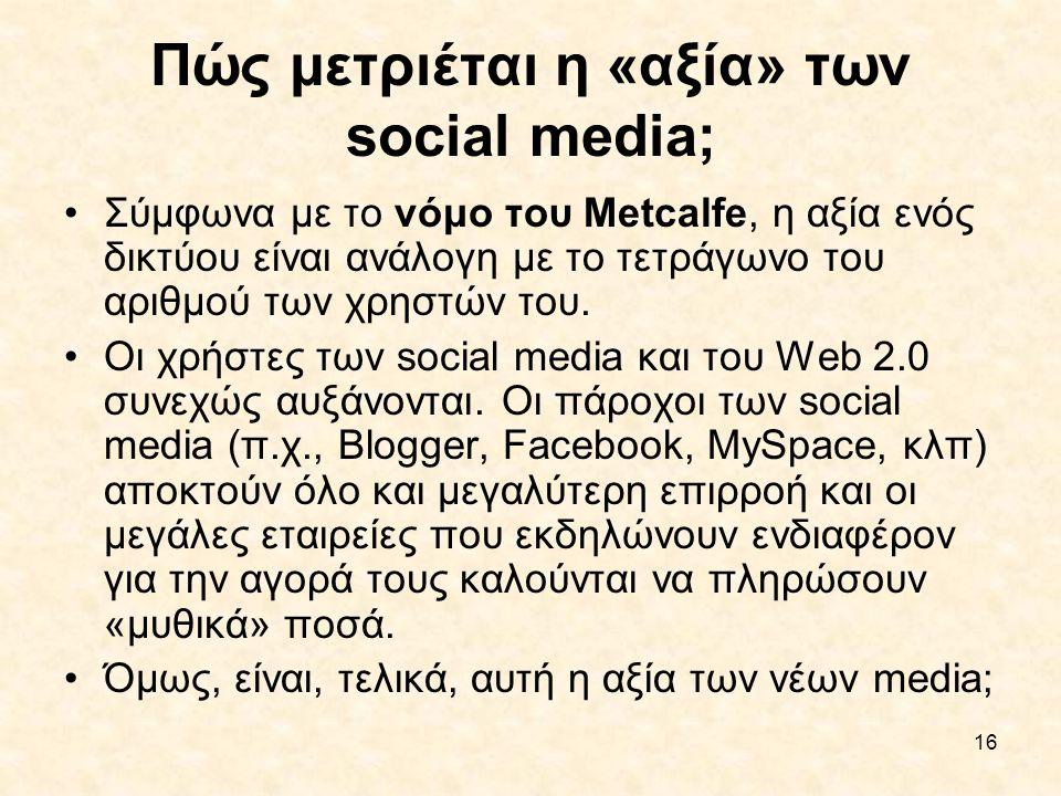 Πώς μετριέται η «αξία» των social media;