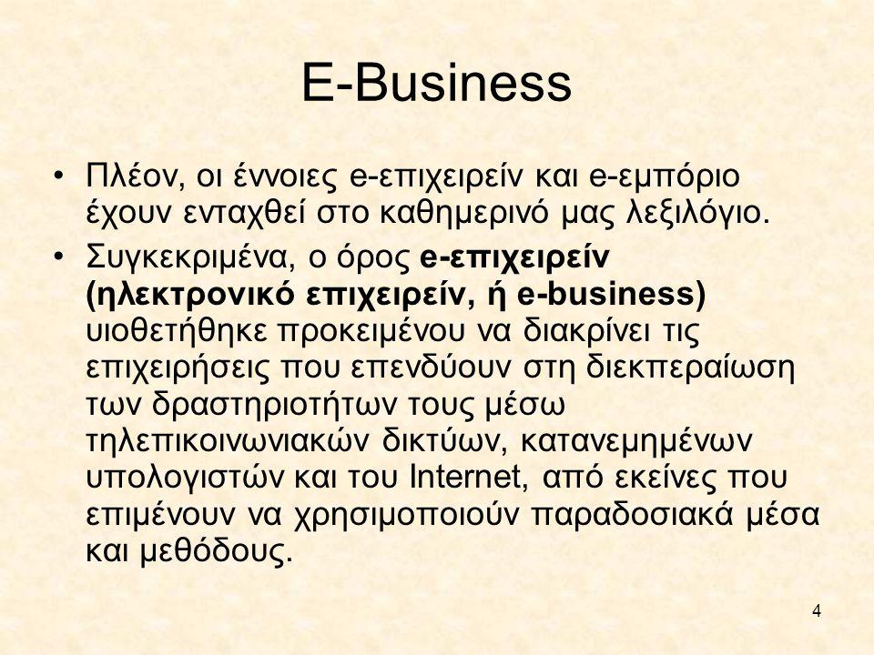 E-Business Πλέον, οι έννοιες e-επιχειρείν και e-εμπόριο έχουν ενταχθεί στο καθημερινό μας λεξιλόγιο.
