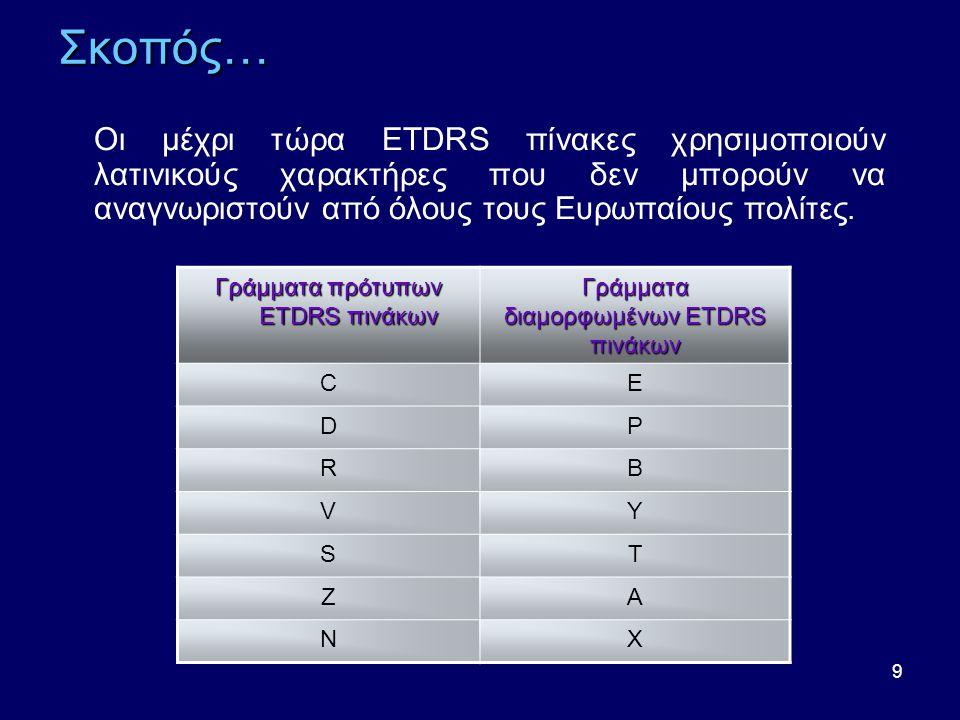 Γράμματα διαμορφωμένων ETDRS πινάκων