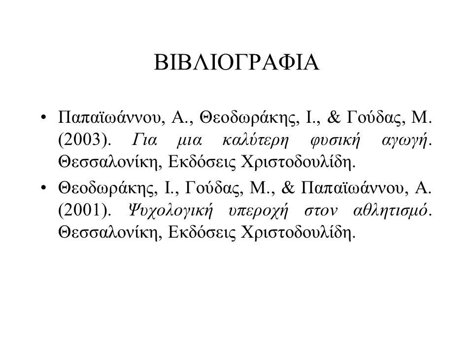 ΒΙΒΛΙΟΓΡΑΦΙΑ Παπαϊωάννου, Α., Θεοδωράκης, Ι., & Γούδας, Μ. (2003). Για μια καλύτερη φυσική αγωγή. Θεσσαλονίκη, Εκδόσεις Χριστοδουλίδη.