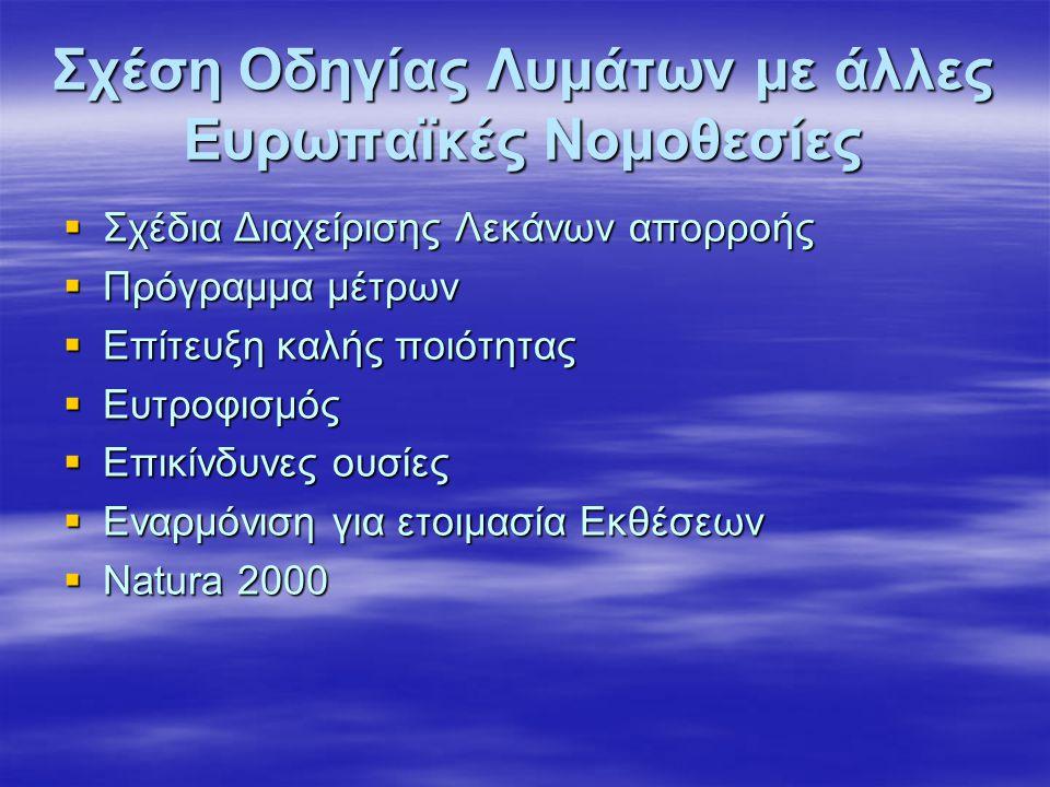 Σχέση Οδηγίας Λυμάτων με άλλες Ευρωπαϊκές Νομοθεσίες