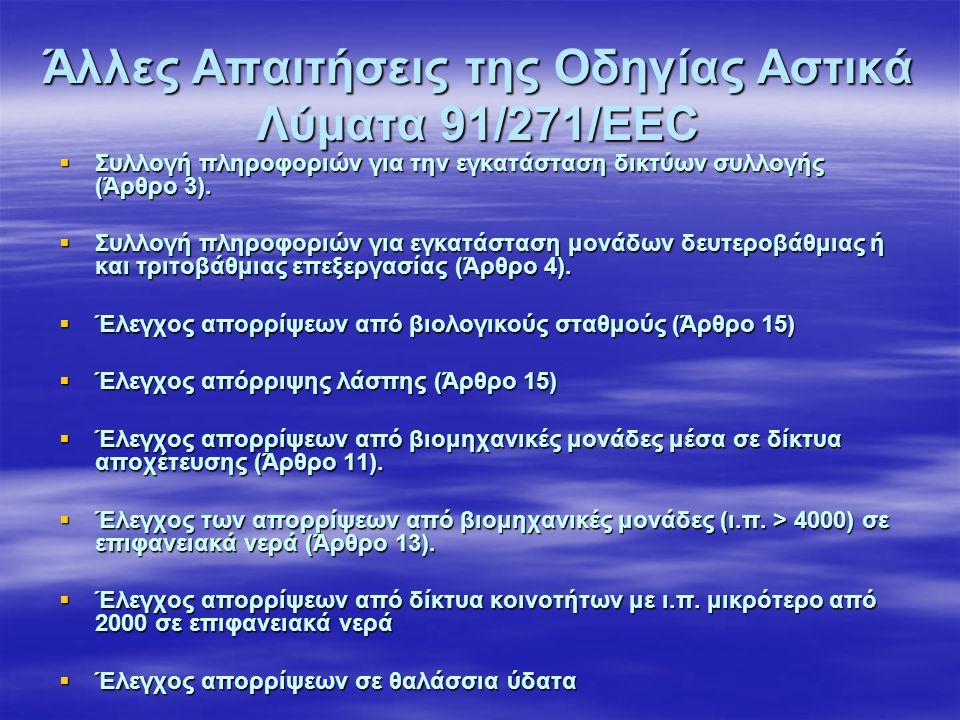 Άλλες Απαιτήσεις της Οδηγίας Αστικά Λύματα 91/271/ΕΕC