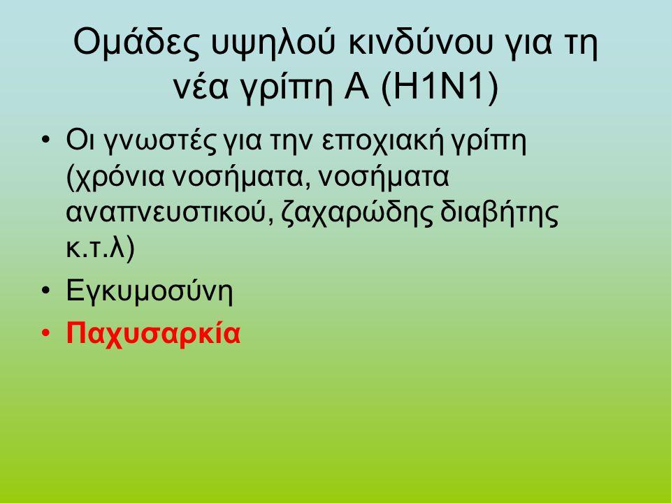 Ομάδες υψηλού κινδύνου για τη νέα γρίπη Α (Η1Ν1)