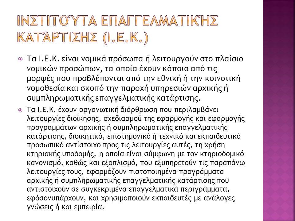 Ινστιτούτα Επαγγελματικής Κατάρτισησ (Ι.Ε.Κ.)