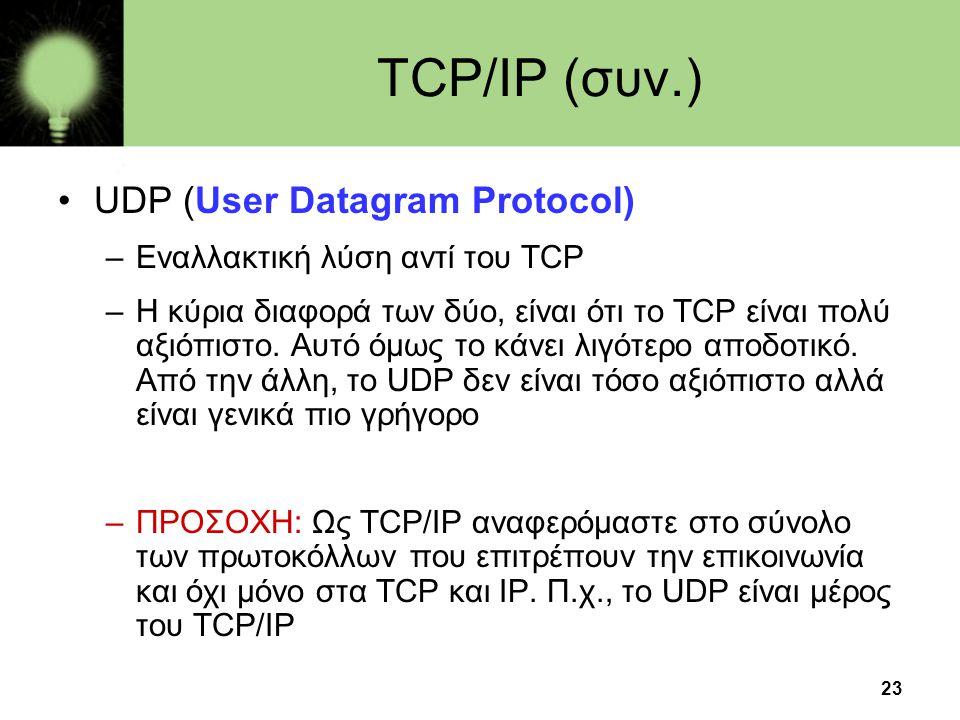 TCP/IP (συν.) UDP (User Datagram Protocol)