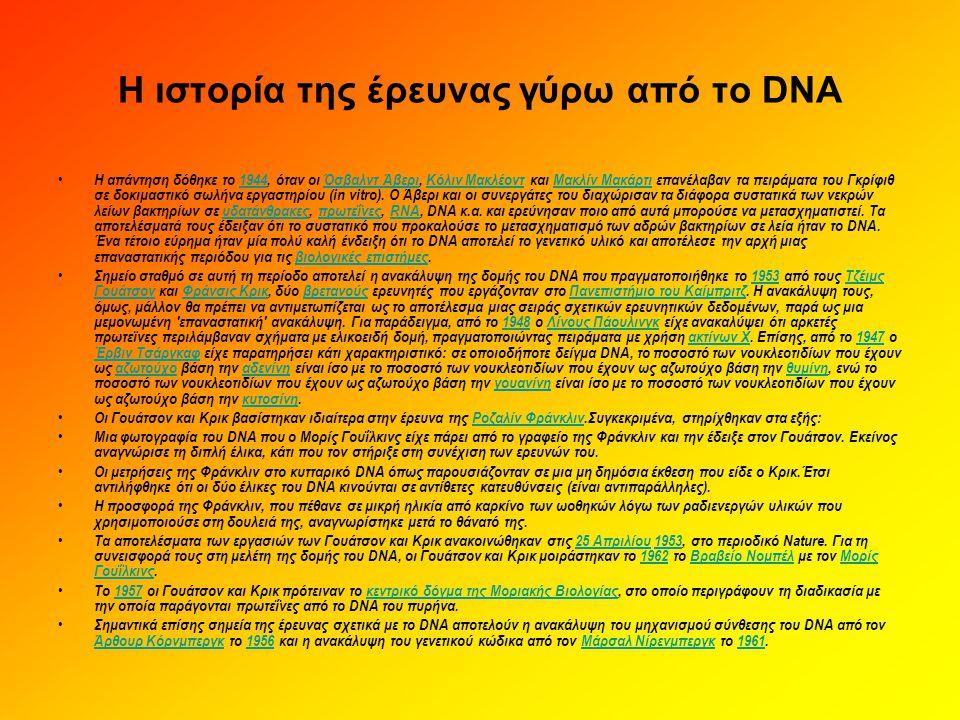 Η ιστορία της έρευνας γύρω από το DNA