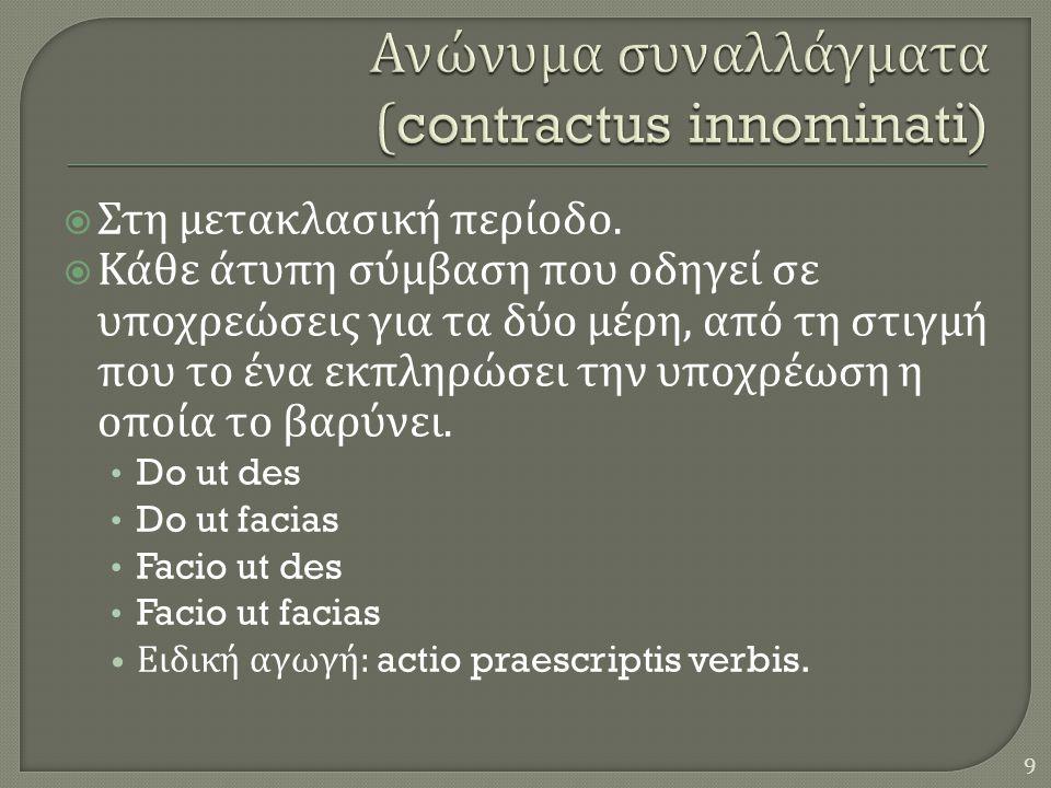 Ανώνυμα συναλλάγματα (contractus innominati)