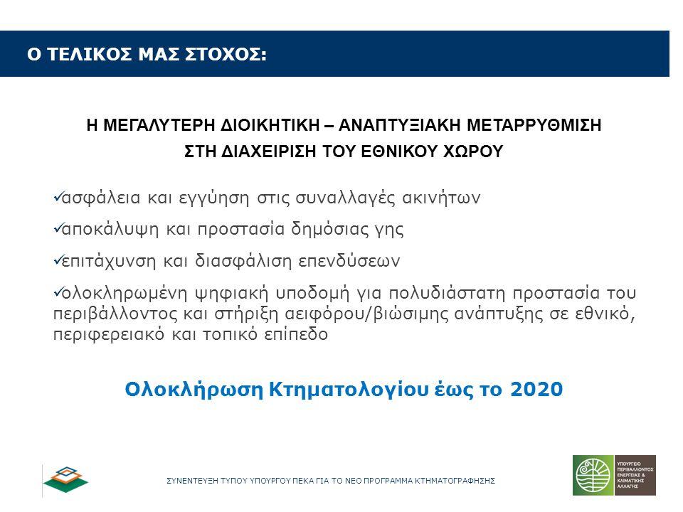 Ολοκλήρωση Κτηματολογίου έως το 2020