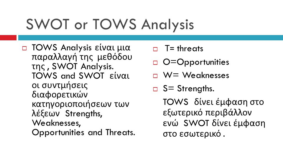 SWOT or TOWS Analysis