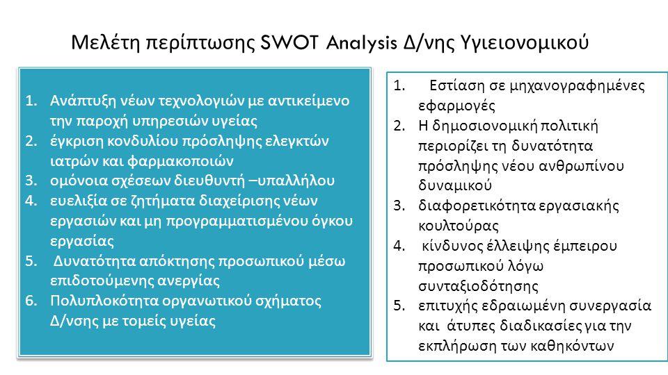 Μελέτη περίπτωσης SWOT Analysis Δ/νης Υγιειονομικού