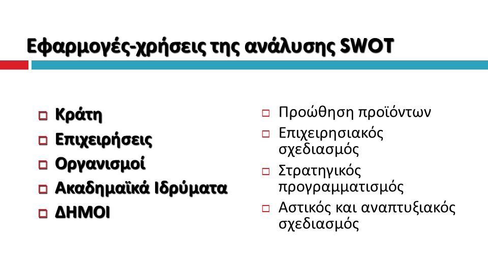 Εφαρμογές-χρήσεις της ανάλυσης SWOT