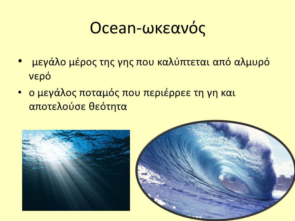 Ocean-ωκεανός μεγάλο μέρος της γης που καλύπτεται από αλμυρό νερό