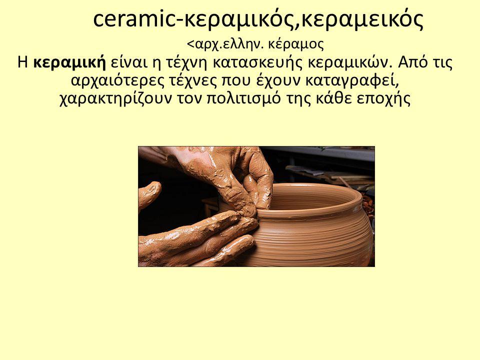 ceramic-κεραμικός,κεραμεικός <αρχ.ελλην. κέραμος