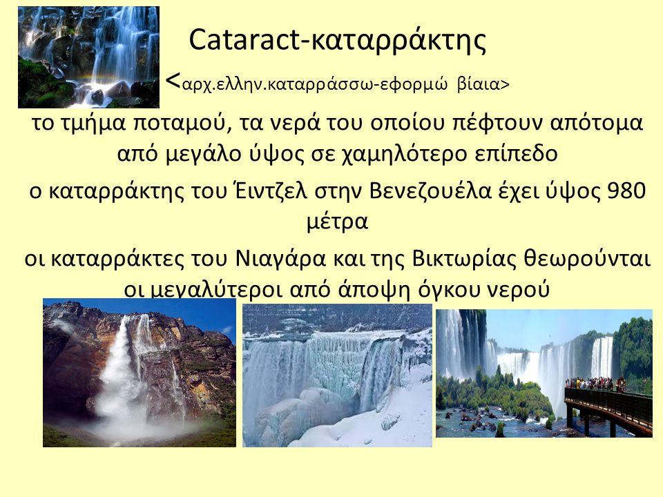 Cataract-καταρράκτης <αρχ.ελλην.καταρράσσω-εφορμώ βίαια>