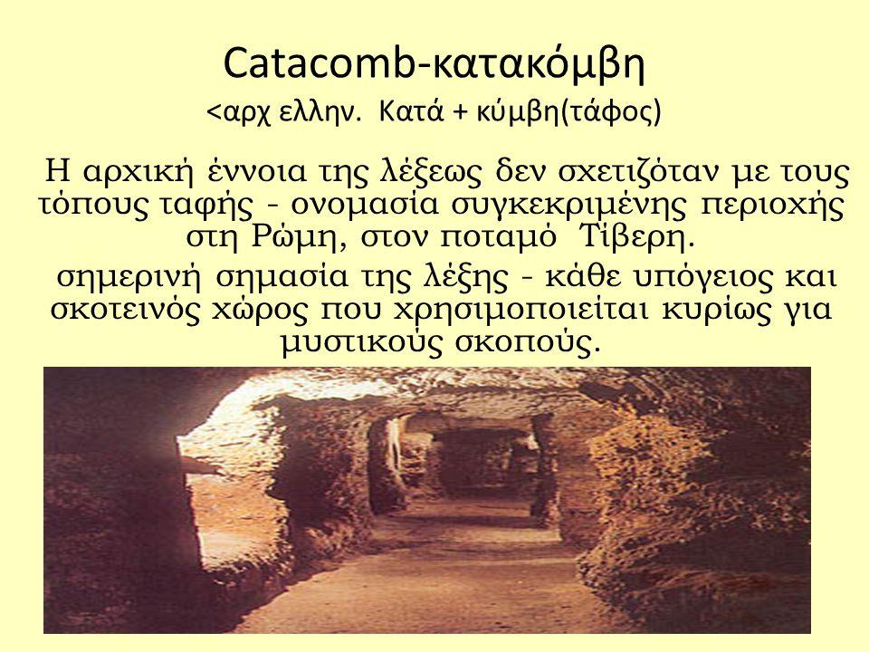 Catacomb-κατακόμβη <αρχ ελλην. Κατά + κύμβη(τάφος)