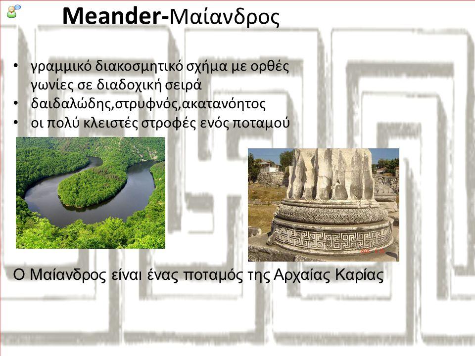 Meander-Μαίανδρος γραμμικό διακοσμητικό σχήμα με ορθές