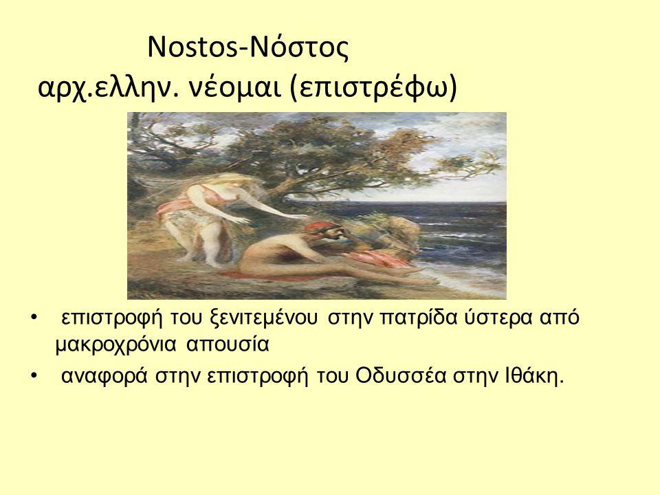 Nostos-Νόστος αρχ.ελλην. νέομαι (επιστρέφω)