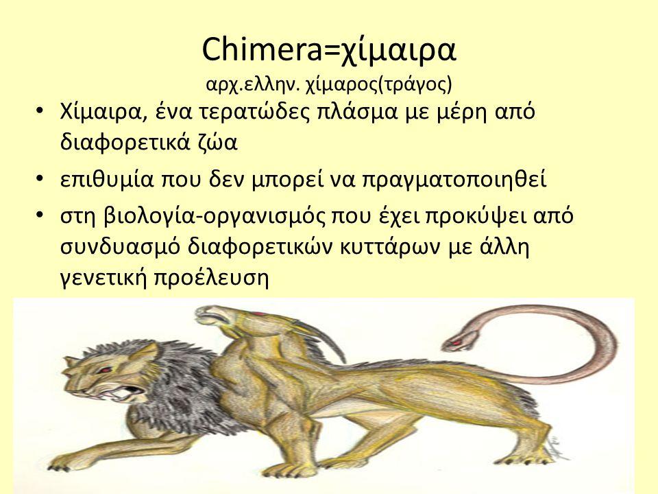 Chimera=χίμαιρα αρχ.ελλην. χίμαρος(τράγος)