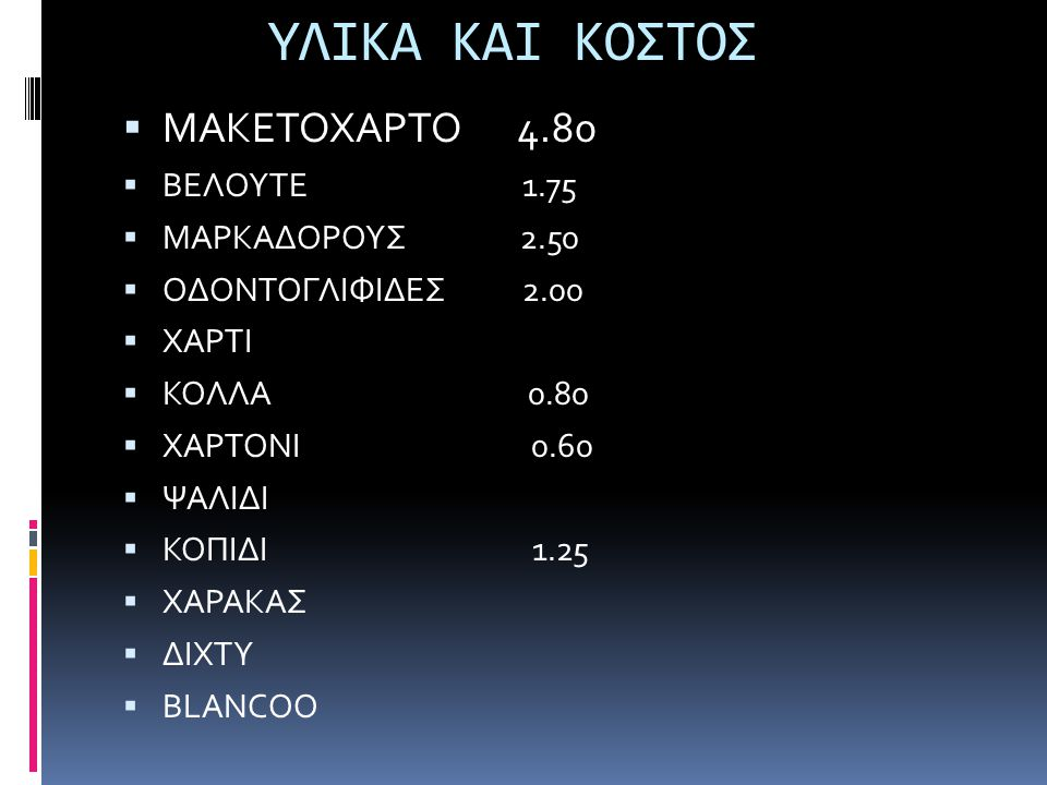 ΥΛΙΚΑ ΚΑΙ ΚΟΣΤΟΣ ΜΑΚΕΤΟΧΑΡΤΟ 4.80 ΒΕΛΟΥΤΕ 1.75 ΜΑΡΚΑΔΟΡΟΥΣ 2.50