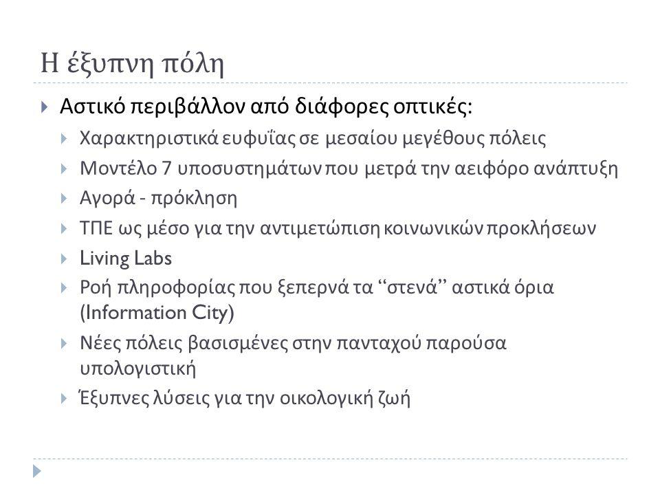 Η έξυπνη πόλη Αστικό περιβάλλον από διάφορες οπτικές: