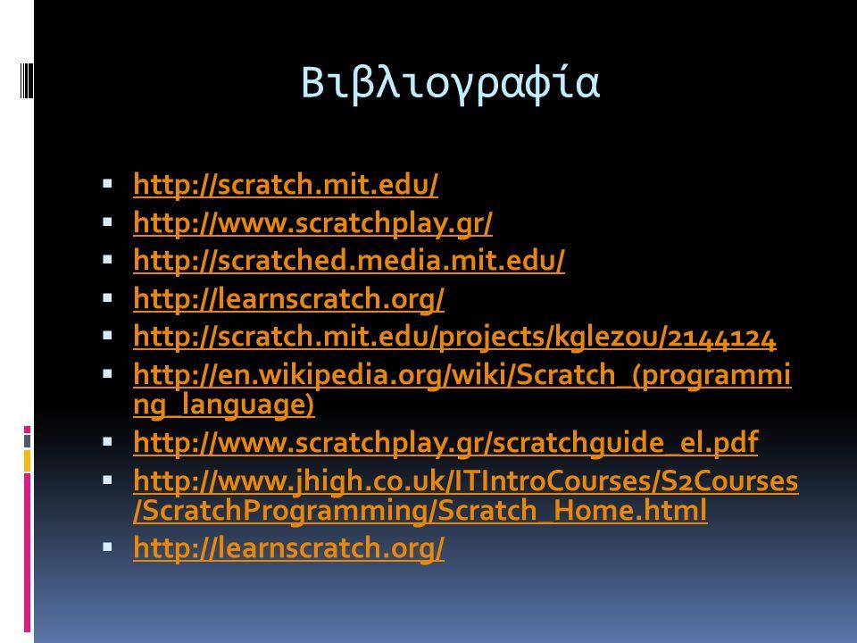 Βιβλιογραφία http://scratch.mit.edu/ http://www.scratchplay.gr/