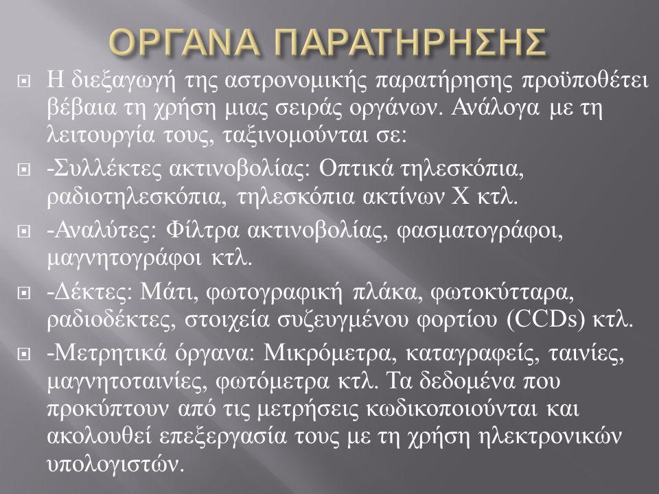 ΟΡΓΑΝΑ ΠΑΡΑΤΗΡΗΣΗΣ