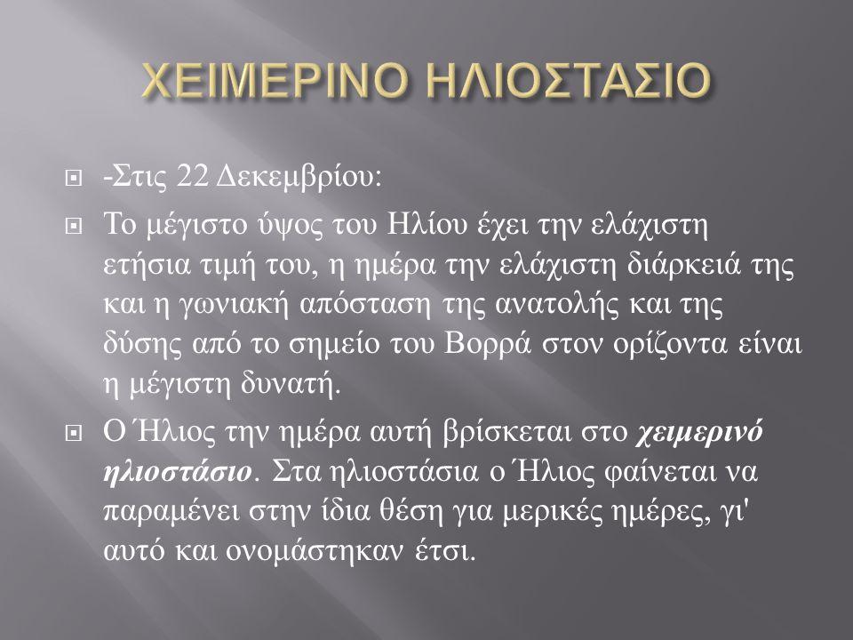 ΧΕΙΜΕΡΙΝΟ ΗΛΙΟΣΤΑΣΙΟ -Στις 22 Δεκεμβρίου: