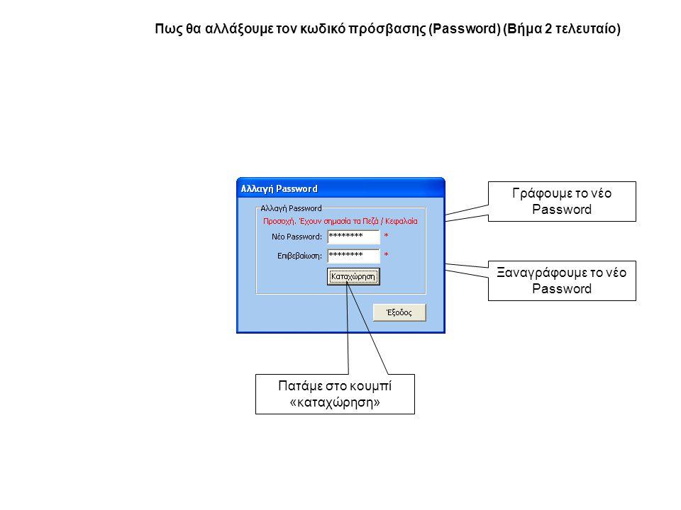 Πως θα αλλάξουμε τον κωδικό πρόσβασης (Password) (Βήμα 2 τελευταίο)
