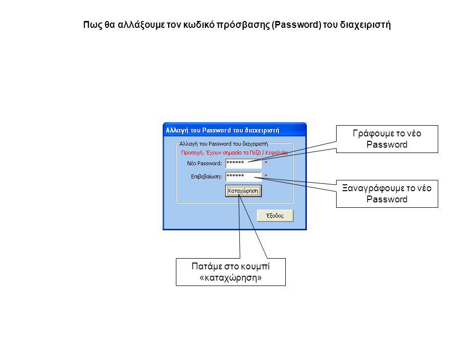 Πως θα αλλάξουμε τον κωδικό πρόσβασης (Password) του διαχειριστή