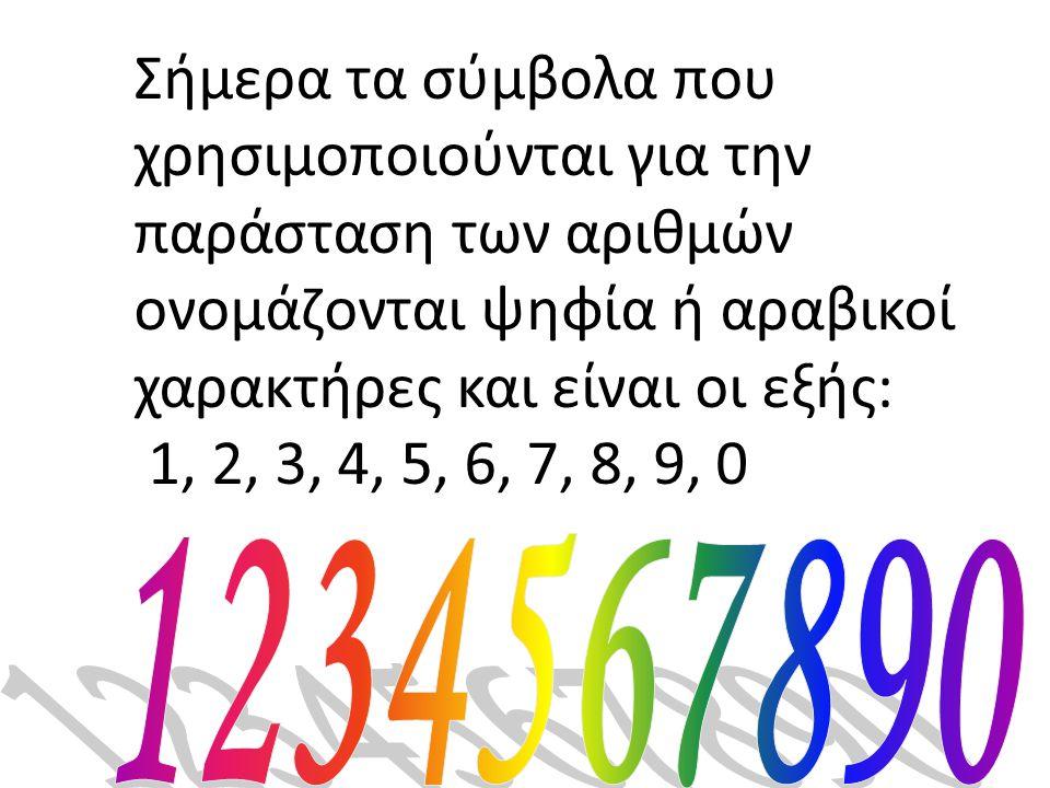 Σήμερα τα σύμβολα που χρησιμοποιούνται για την παράσταση των αριθμών ονομάζονται ψηφία ή αραβικοί χαρακτήρες και είναι οι εξής: