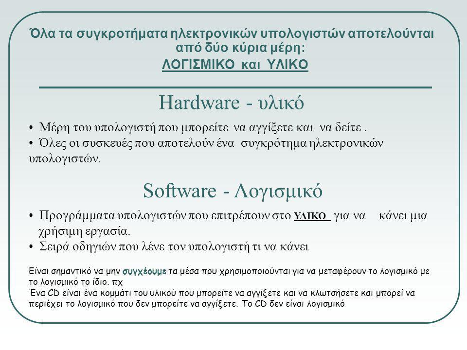 Hardware - υλικό Software - Λογισμικό