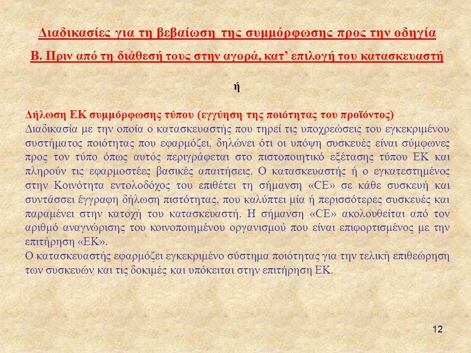 Διαδικασίες για τη βεβαίωση της συμμόρφωσης προς την οδηγία