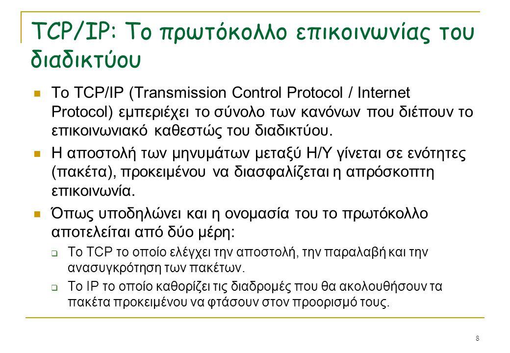 TCP/IP: Το πρωτόκολλο επικοινωνίας του διαδικτύου