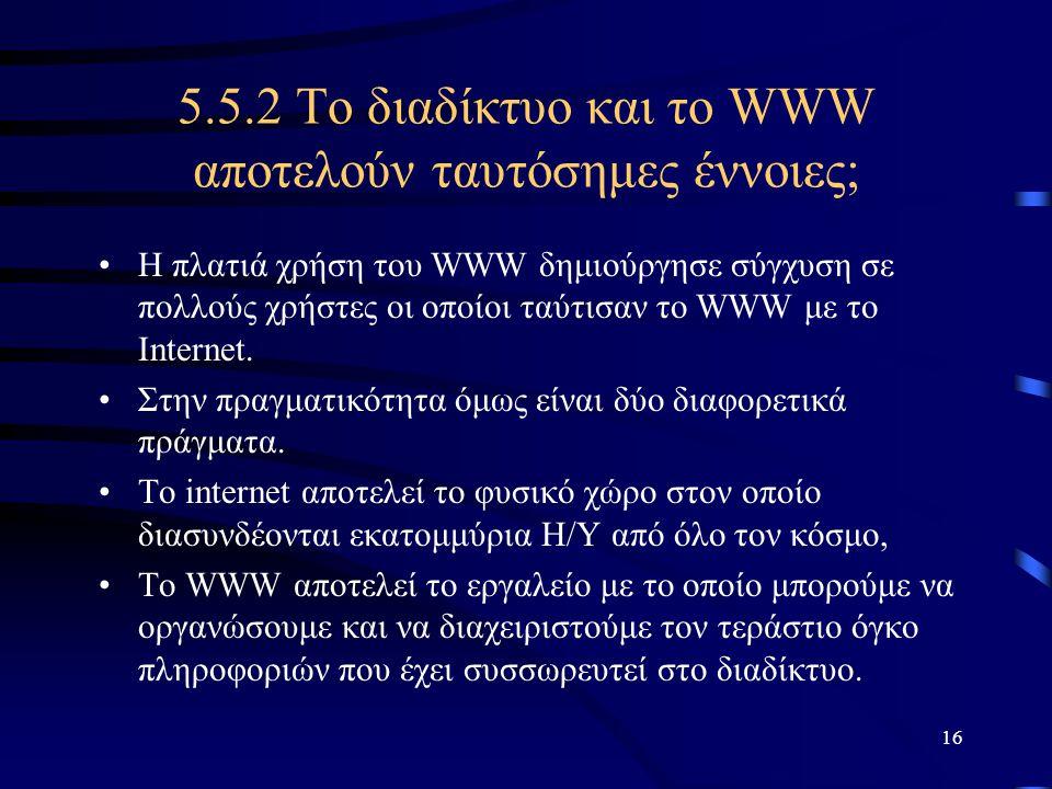 5.5.2 Το διαδίκτυο και το WWW αποτελούν ταυτόσημες έννοιες;