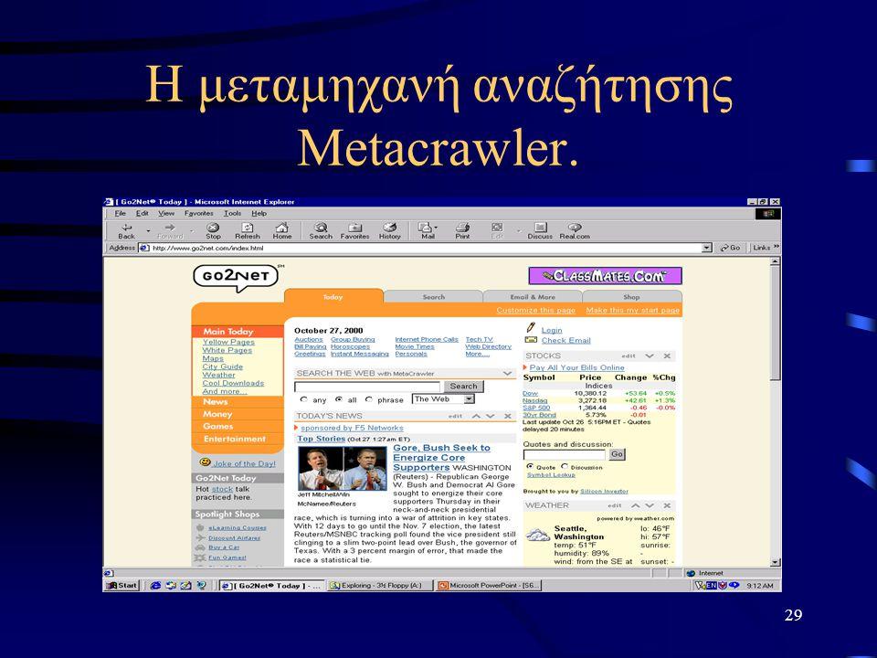 Η μεταμηχανή αναζήτησης Metacrawler.
