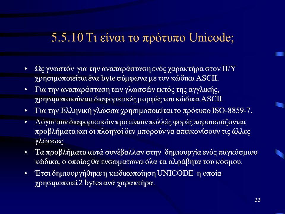 5.5.10 Τι είναι το πρότυπο Unicode;