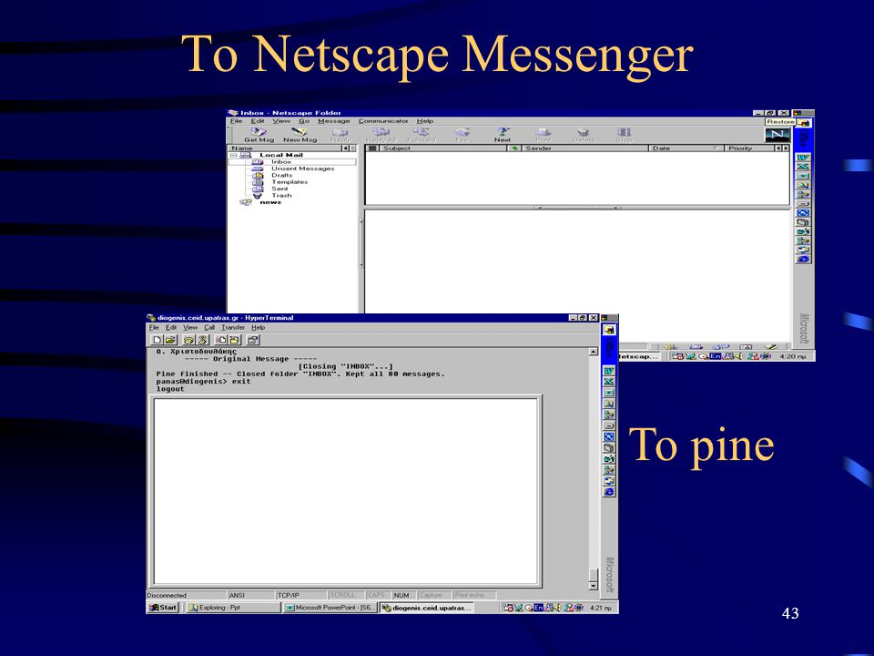 To Netscape Messenger To pine