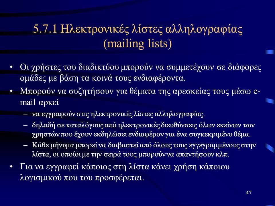 5.7.1 Ηλεκτρονικές λίστες αλληλογραφίας (mailing lists)