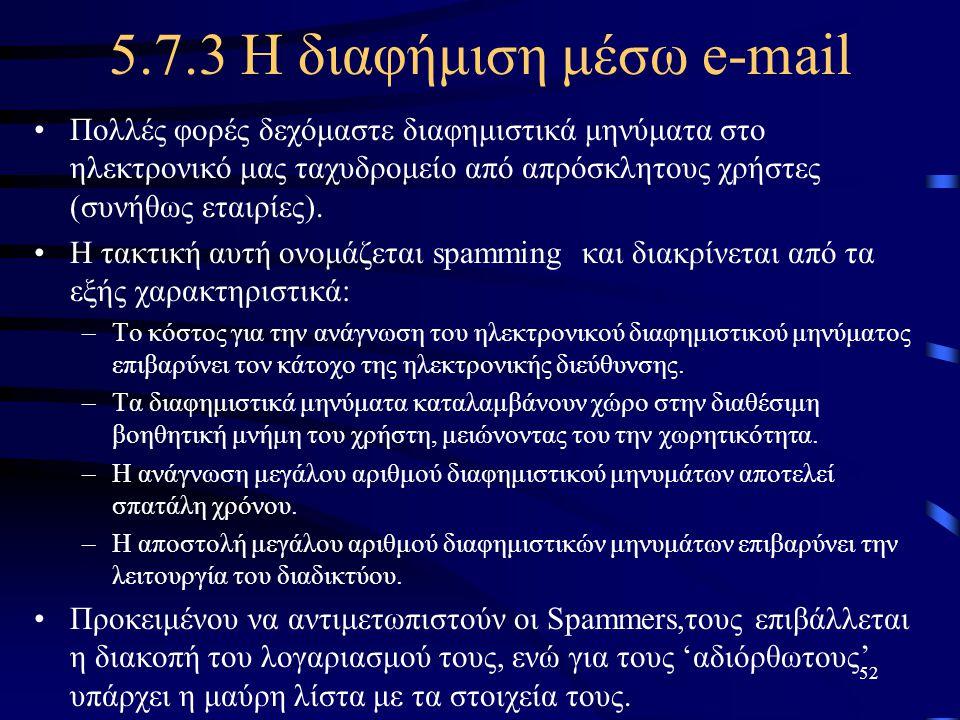 5.7.3 Η διαφήμιση μέσω e-mail